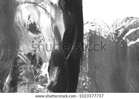 Abstract ink background. Marble style. Black and white paint stroke texture. Wallpaper for web and game design. Grunge drywall mud art. Macro image of spackling paste. Dark Smear of painterly plaster #1023377737