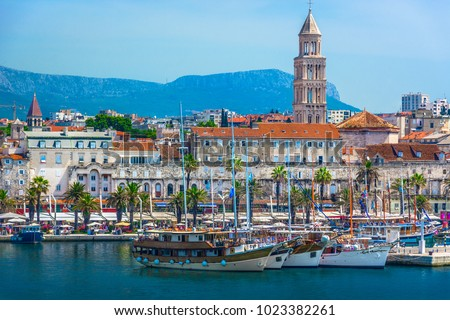 Seafront view at old city center in Split town, Diocletian Palace view from the Adriatic Sea, Croatia. Royalty-Free Stock Photo #1023382261