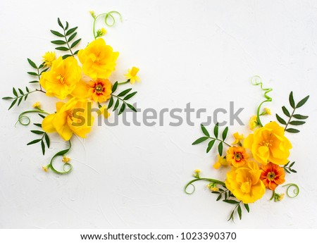 Flowers composition oh white background with spring flowers. Easter concept with copy spase. Flat lay, top view. #1023390370