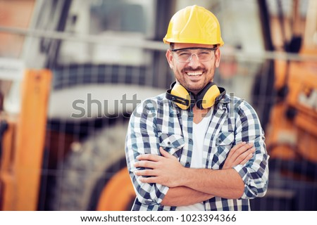 Young businessman construction site engineer,close up. #1023394366