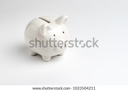 Finance, saving money, white piggy bank on seamless white background. #1023504211