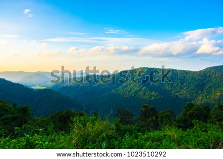 Exotic nature. Beautiful hill view Landscape of hill and  mountain with blue sky. Majestic and Amazing  destination for trekking adventure. #1023510292