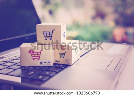 Online shopping / ecommerce and delivery service concept : Paper cartons with a shopping cart or trolley logo on a laptop keyboard, depicts customers order things from retailer sites via the internet. #1023606790