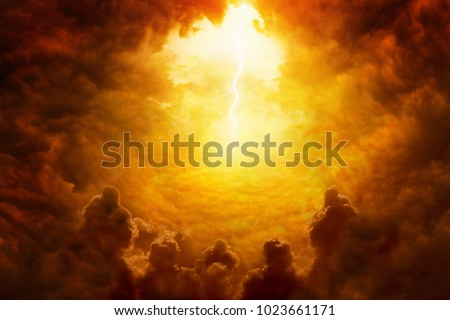 Dramatic religious background - hell realm, bright lightnings in dark red apocalyptic sky, judgement day, end of world, eternal damnation, dark scary silhouettes Royalty-Free Stock Photo #1023661171