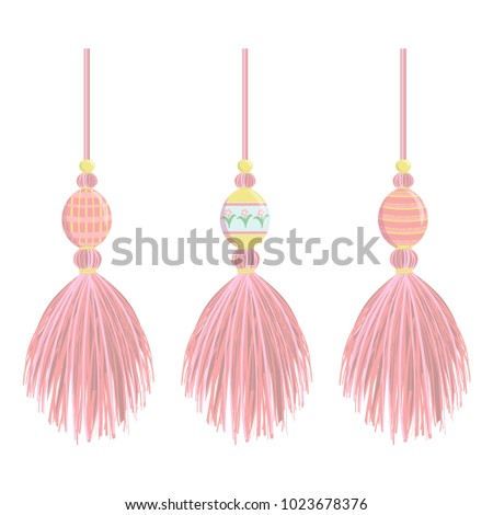Set of vector elements for design. Cute vertical yarn, thread tassel with eggs. Spring, april, Eastern elements for decoration. Flat realistic style, pink colors #1023678376