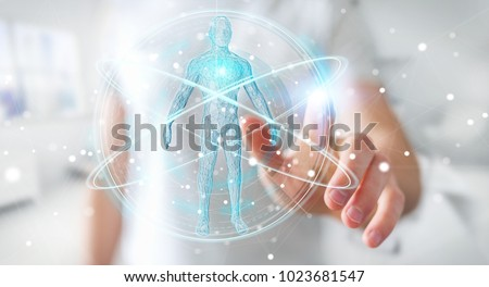 Businessman on blurred background using digital x-ray human body scan interface 3D rendering #1023681547