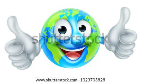 A cute cartoon earth world mascot character giving a thumbs up
