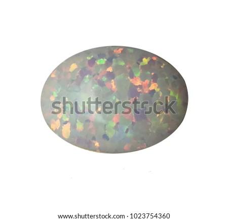 white opal gemstone isolated