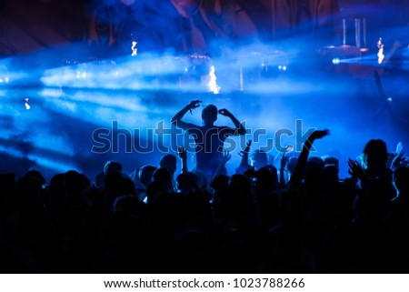 Crowd at concert - Cheering crowd in front of bright colorful stage lights #1023788266