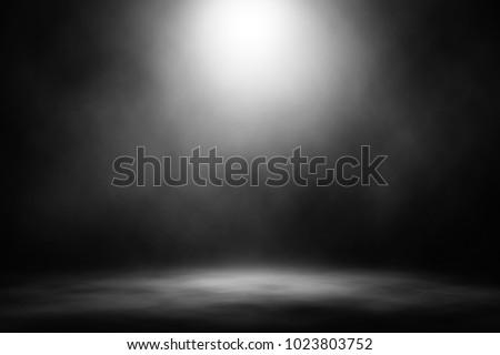 White spotlight smoke stage nightclub entertainment background. #1023803752