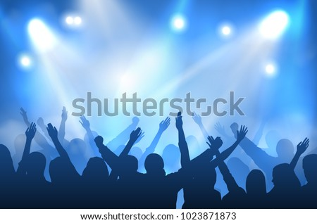 Vector concert stage illuminated with blue lights and silhouettes of cheering crowd #1023871873