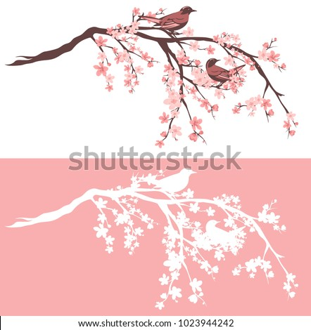 birds sitting on blooming sakura tree branches - outline and silhouette vector design set