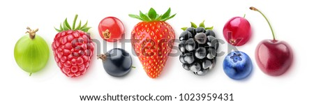 Isolated collection of berries, top view. Fresh strawberry, blackberry, blueberry, cranberry, cherry, gooseberry, raspberry, red and black currants isolated on white background with clipping path #1023959431