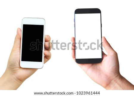 Hand holding blank smart phone on white background #1023961444