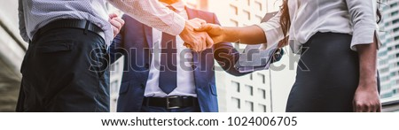 handshake of business People Colleagues Teamwork Meeting .Hold hand and shaking hand in city Royalty-Free Stock Photo #1024006705