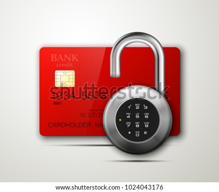 Credit card safe combination lock. Protection credit card. Safety badge banking. Defense finans. Security Plastic card software. Debit card electromagnetic chip Privacy Electronic money funds transfer #1024043176