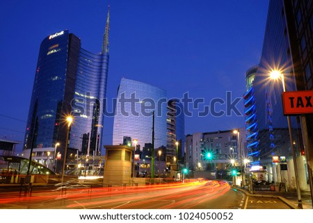 Milan, Italy - January 27 2018: Milan business centre at the sunset #1024050052
