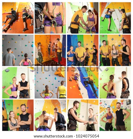 Collage with people in climbing gym #1024075054
