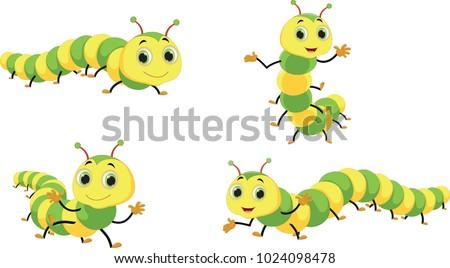 Cute caterpillar cartoon set