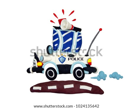 Plasticine cartoon white police car driving on brown road isolate on white background with clipping path