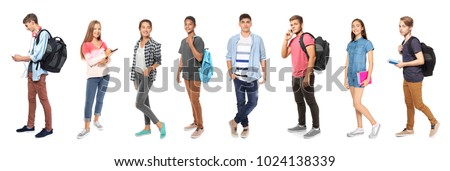 Youth lifestyle concept. Teenagers on white background Royalty-Free Stock Photo #1024138339