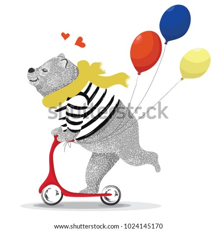 Cute bear illustration ,T-shirt graphics,
