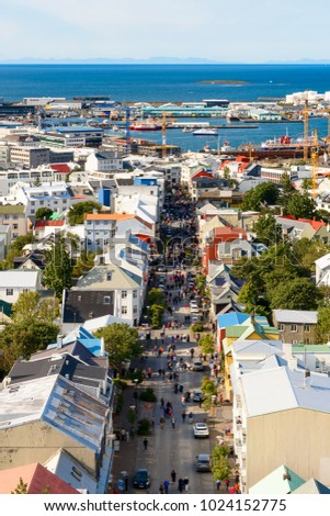 REYKJAVIK, ICELAND - AUGUST 19, 2017: Aerial panorama of  Reykjavik,   the capital and largest city of Iceland #1024152775