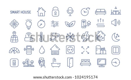 Collection of smart house linear icons - control of lighting, heating, air conditioning. Set of home automation and remote monitoring symbols drawn with thin contour lines. Vector illustration. Royalty-Free Stock Photo #1024195174