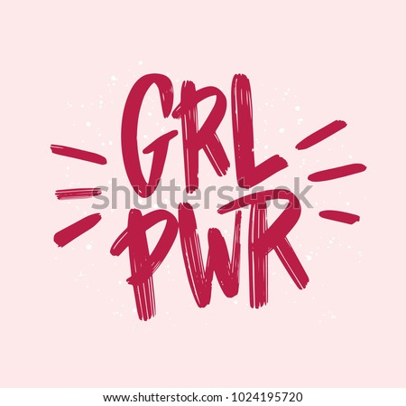 Girl power inscription handwritten with bright pink vivid font. GRL PWR hand lettering. Feminist slogan, phrase or quote. Modern vector illustration for t-shirt, sweatshirt or other apparel print. Royalty-Free Stock Photo #1024195720