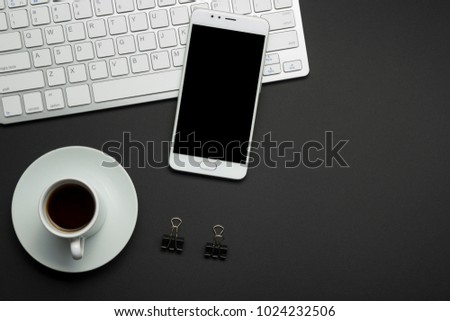 Office desk table with supplies. Flat lay Business workplace and objects. Top view. Copy space for text #1024232506