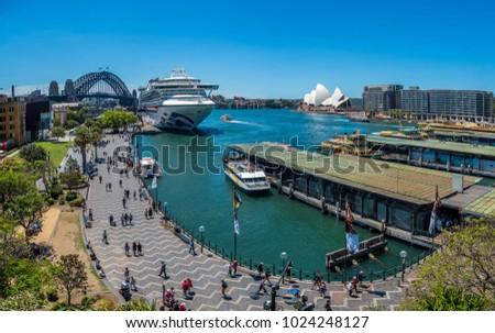 Busy Circular Quay in Sydney, Australia. #1024248127