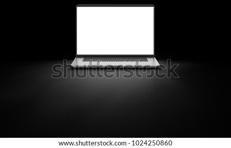 Laptop with blank screen isolated on black background, white aluminium body. Whole in focus. High detailed. 3d illustration.