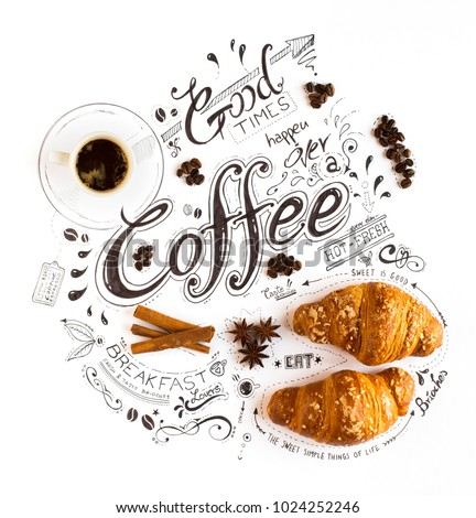 Hand Drawn Coffee Lettering Typography with various themed text, brioches, spices and coffee beens in a vintage composition. #1024252246