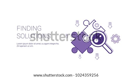 Finding Solutions Web Banner With Copy Space Business Decision Concept Vector Illustration Royalty-Free Stock Photo #1024359256