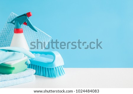 Cleaning set for different surfaces in kitchen, bathroom and other rooms. Empty place for text or logo on blue background. Cleaning service concept. Early spring regular clean up. Front view. #1024484083