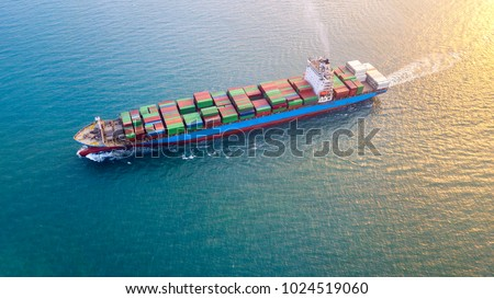 Large container ship at sea - Aerial image. #1024519060