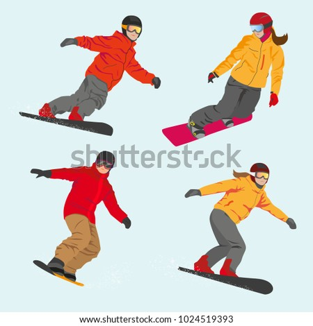 Set of vector sportsmen snowboarders boys and girls. Winter sport. Flat style. #1024519393