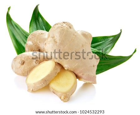 Ginger with leaves Isolated on a white #1024532293