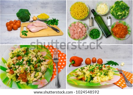 Cooking pasta with chicken and broccoli. Collage #1024548592