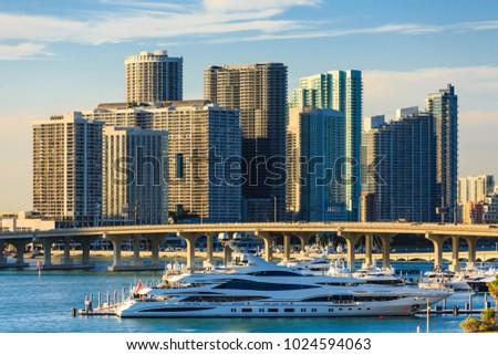 Yacht Docked at Miami #1024594063