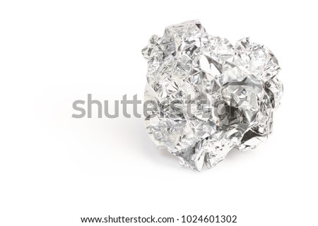 Silver foil with shiny crumpled of aluminum paper rubbish isolated on white background, clipping path. #1024601302