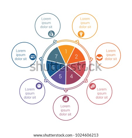 Template for info grapchics Diagram 7 cyclic processes, step by step, colorful circles in a circle, pie chart for workflow, cycle processes, diagrams, business options, banner, web design #1024606213