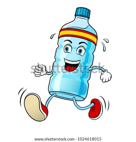 Bottle of water run pop art retro raster illustration. Cartoon character. Isolated image on white background. Comic book style imitation.
