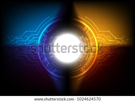 Futuristic circuit line with solar flare and pixel, Technology abstract and communication concept, Vector illustration. #1024624570