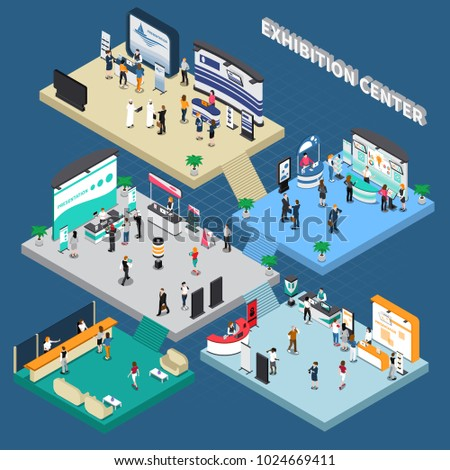 Multistory exhibition center isometric composition on blue background with exposition stands, business people, vector illustration  Royalty-Free Stock Photo #1024669411