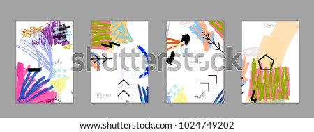 Abstract universal art web header template. Collage made with scribbles, marker, canyon strokes, black geometric shapes, ink drawn splashes. Bright colored isolated on white background cover template. #1024749202