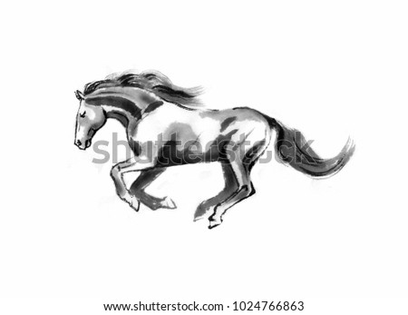 Sumi-e illustration of a running horse, moving to the left. Oriental ink painting, isolated on white background. #1024766863