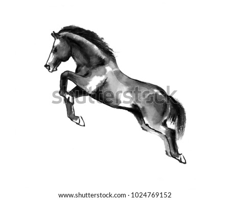 Sumi-e illustration of a horse leaping, moving to the left. Oriental ink painting, isolated on white background. #1024769152