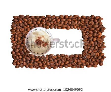 coffee beans isolated on white background, banner, background