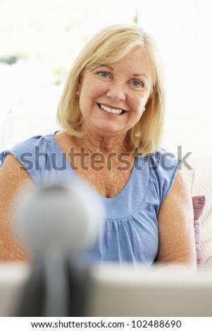 Senior woman using skype #102488690